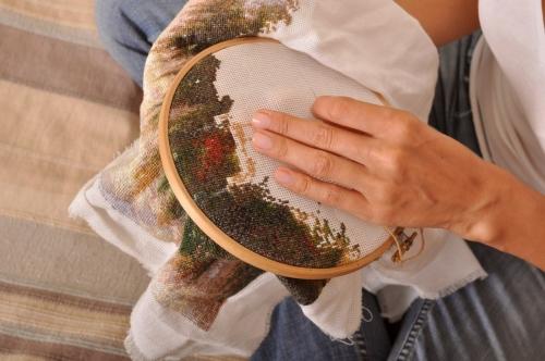 cross stitch process close-up